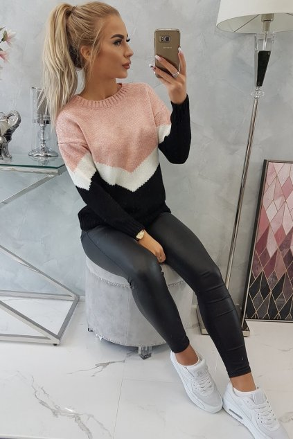 eng pl Sweater with geometric patterns powder pink black 18424 6
