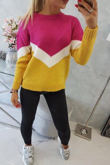 svetrik geometrik mustard hot pink