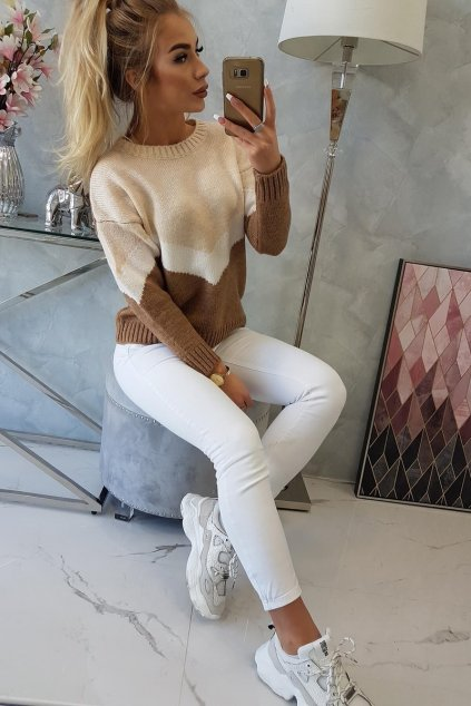 eng pl Sweater with geometric patterns beige cappuccino 16312 6