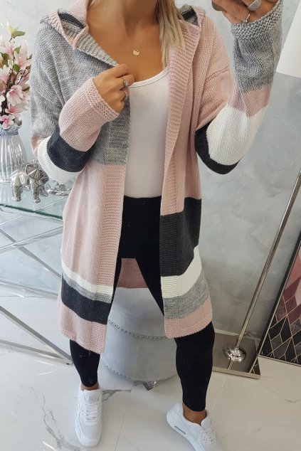 eng pl Four color striped sweater powdered pink graphite gray 18292 5