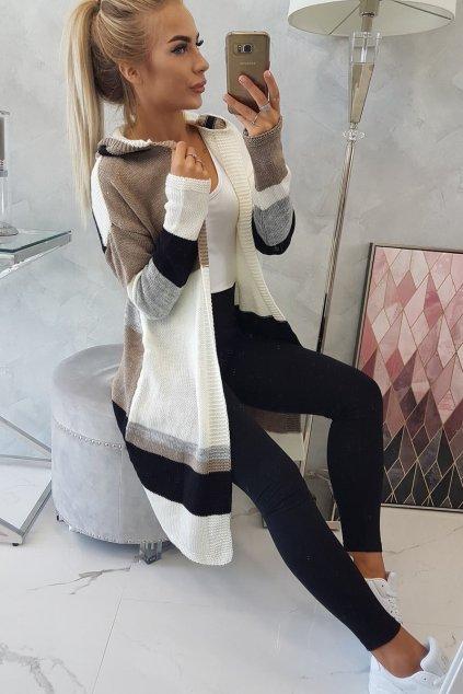 eng pl Four color striped sweater ecru black cappuccino 18296 7