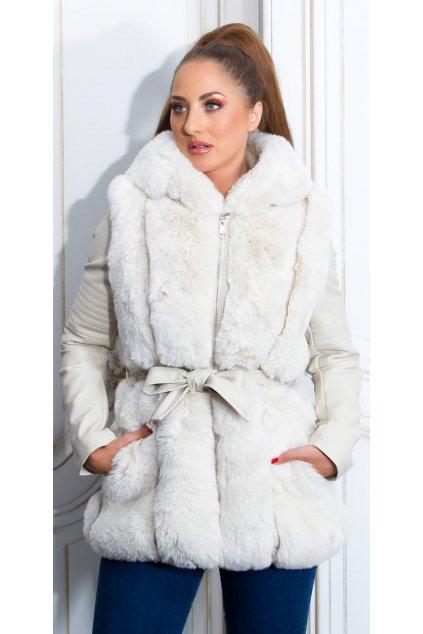 Béžový kabát s kožíškem