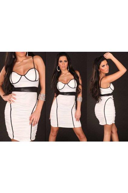 Designerské šaty v bílo-černém provedení, k DODÁNÍ IHNED