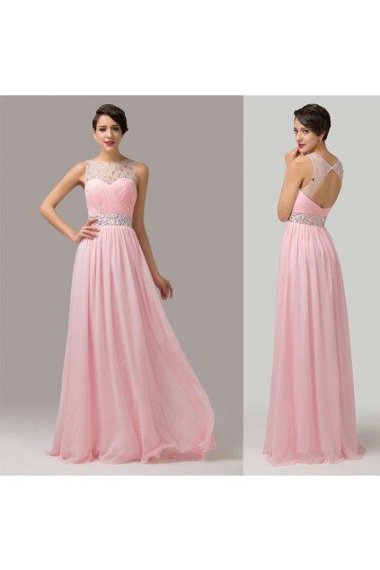 * 0000 LUXUSNÍ růžové společenské šaty, 32, 34, 36, 38, 40, 42, 44, 46