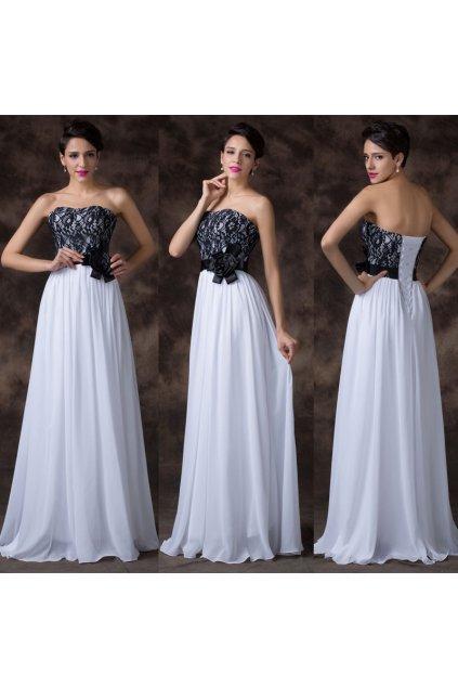 * 0000 Bílé společenské šaty s krajkovým korzetem, 32, 34, 36, 38, 40, 42, 44, 46