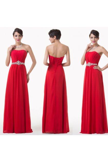 * 0000 Červené společenské šaty s jemným zdobením, velikosti 32 - 46