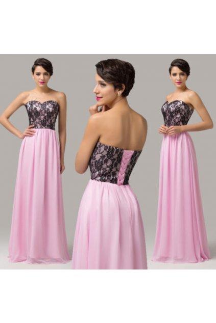 * 0000 LUXUSNÍ růžovo-černé společenské šaty, 32, 34, 36, 38, 40, 42, 44, 46