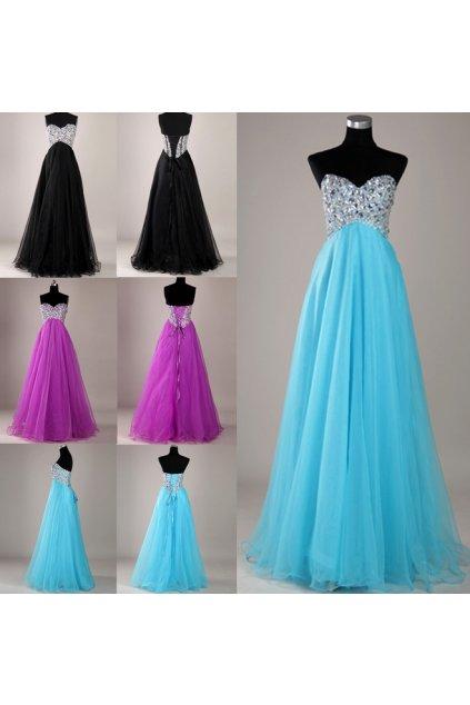 * 0000 Luxusní šaty, vykládané kameny, 3 barvy, velikosti 32 - 46