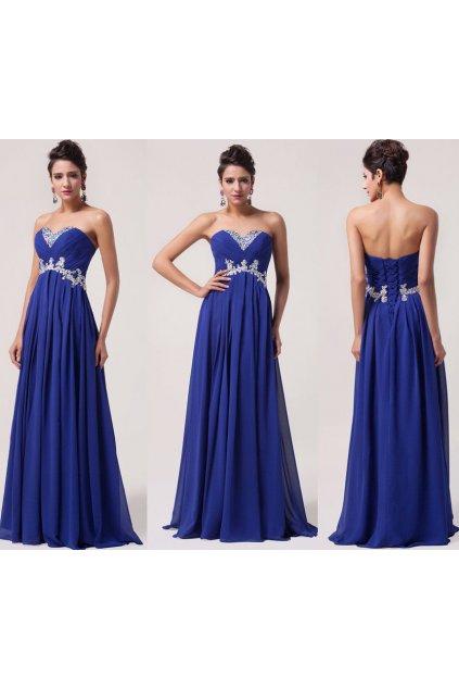 * 0000 LUXUSNÍ modré společenské šaty, jemně zdobené, 32, 34, 36, 38, 40, 42, 44, 46