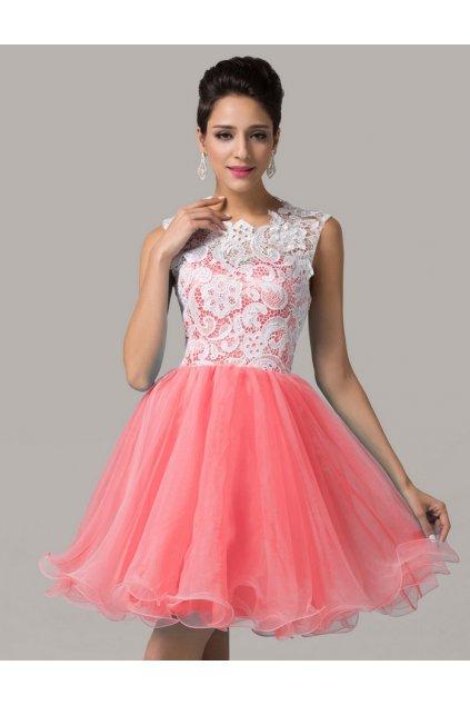 * 0000 Růžové koktejlové šaty s krajkou, 32 - 46
