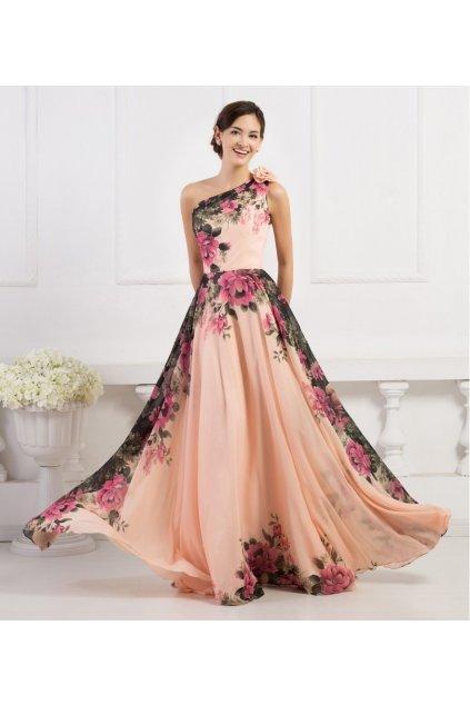 Květované společenské šaty přes rameno, 32 - 44