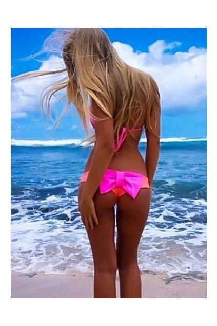 PINK plavky s mašlí, S, M, L