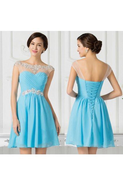 Modré koktejlové šaty, 32 - 42, RYCHLÉ DODÁNÍ