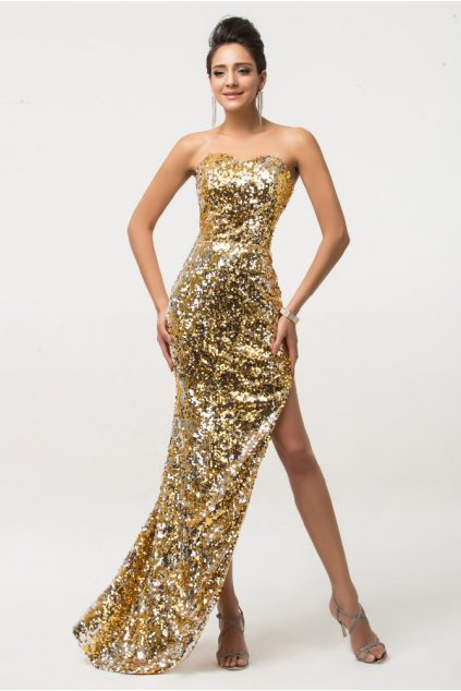 Zlaté společenské šaty s rozparkem, 32 - 44
