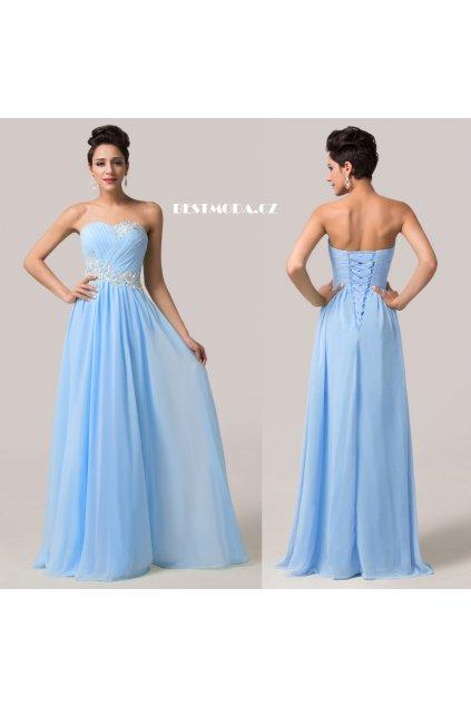 Modré společenské šaty s jemnou aplikací, 32 - 44