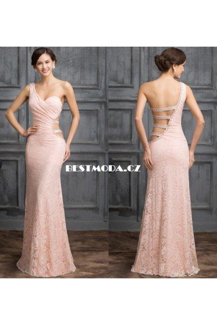 Asymetrické světle růžové společenské šaty, 32 - 44