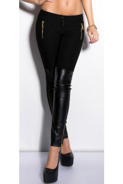 Černé kalhoty s koženkou, k DODÁNÍ IHNED