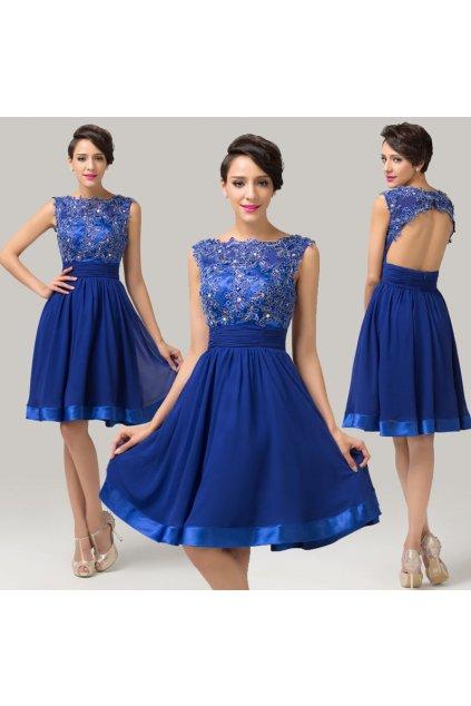 Modré koktejlové šaty, velikosti 32 - 44
