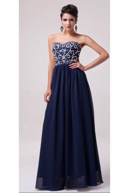 TMAVĚ modré zdobené společenské šaty, 32 - 44