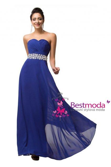 Modré společenské šaty zdobené v pase, 32 - 44