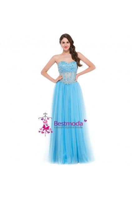 Nadýchané modré plesové šaty, vel. 32 - 44