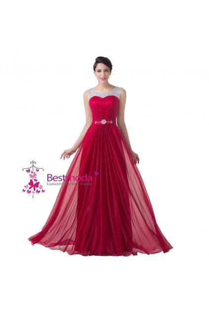 ČERVENÉ společenské šaty s jemným zdobením, 32 - 44