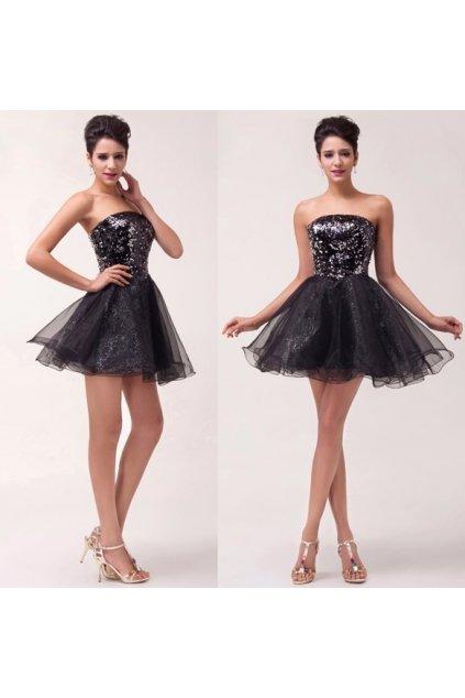 Černé třpytivé koktejlové šaty, 32 - 44