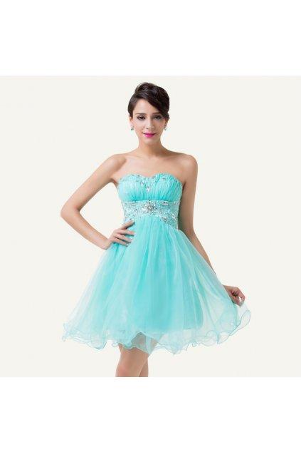 Modré nadýchané koktejlové šaty, 32 - 42