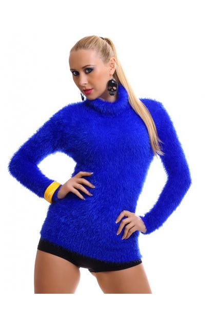 MODRÝ chlupatý svetr, k DODÁNÍ IHNED