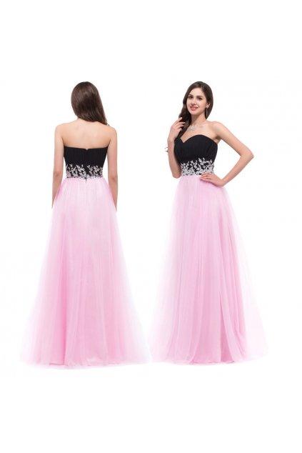 ČERNO-RŮŽOVÉ plesové šaty, velikosti 32 - 44
