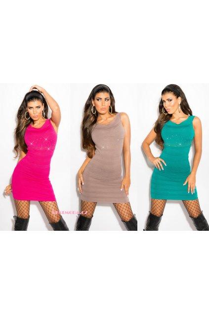 Designerské šaty s kamínky, 9 barev, RYCHLÉ DODÁNÍ