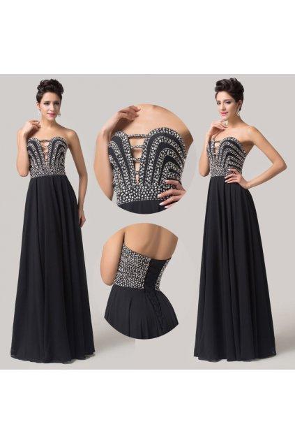 ČERNÉ společenské šaty se zdobeným korzetem, 32 - 44