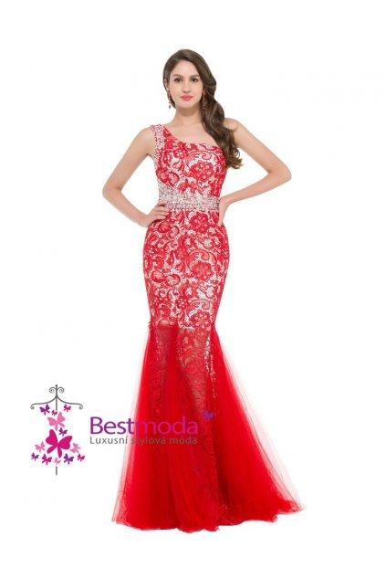 Červené krajkové společenské šaty, velikosti 32 - 44