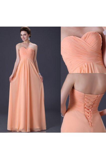 Meruňkové plesové šaty, 32 - 44, RYCHLÉ DODÁNÍ