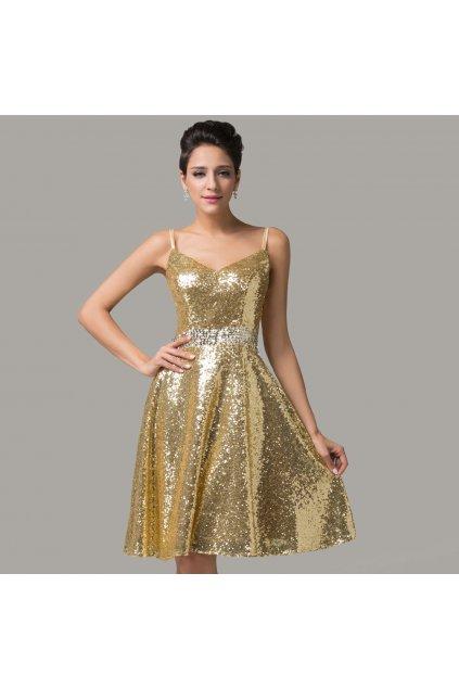 Zlaté koktejlové šaty, 32 - 44, RYCHLÉ DODÁNÍ