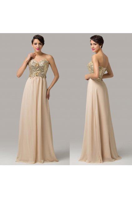 Béžové společenské šaty se zlatým korzetem, 32 - 44