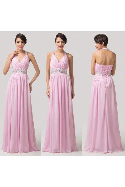 Světle růžové společenské šaty, 32 - 44, RYCHLÉ DODÁNÍ