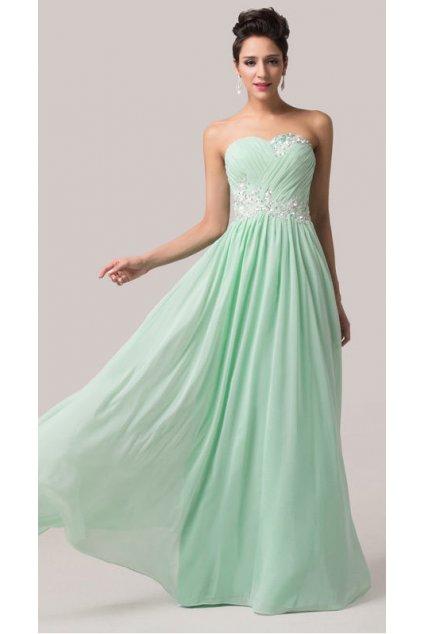 Zelenkavé společenské šaty, 32 - 44, RYCHLÉ DODÁNÍ