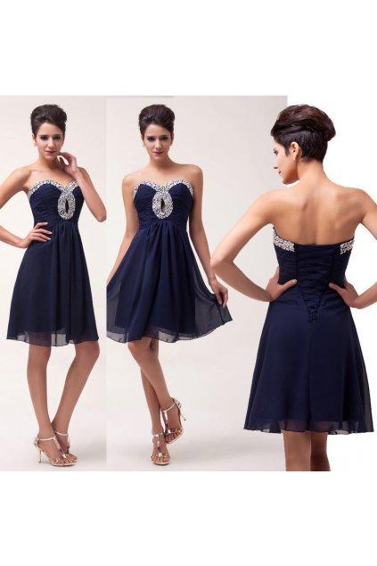 Tmavě modré koktejlové šaty, 32 - 42, RYCHLÉ DODÁNÍ