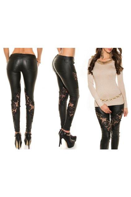 Černé koženkové kalhoty s krajkou, RYCHLÉ DODÁNÍ
