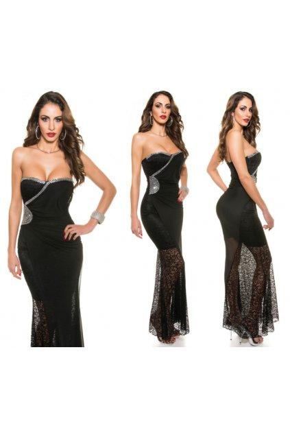Černé společenské šaty s krajkou, S - XL, RYCHLÉ DODÁNÍ