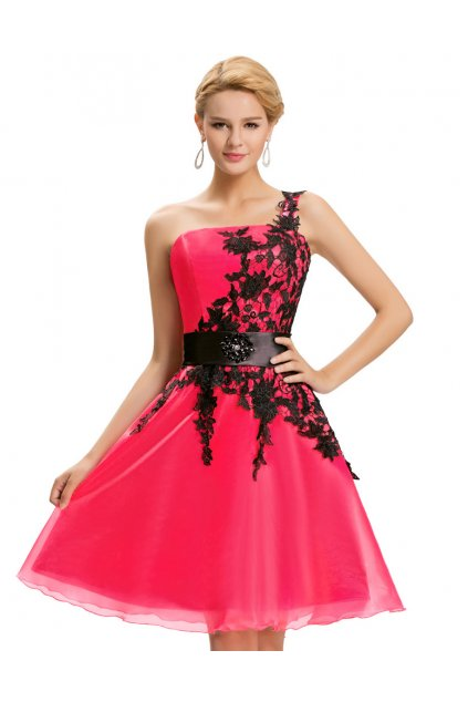 Tmavě růžové koktejlové šaty s krajkou, 32 - 44, RYCHLÉ DODÁNÍ