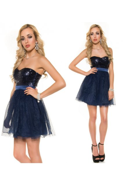 Modré plesové šaty, XS, S, M, RYCHLÉ DODÁNÍ