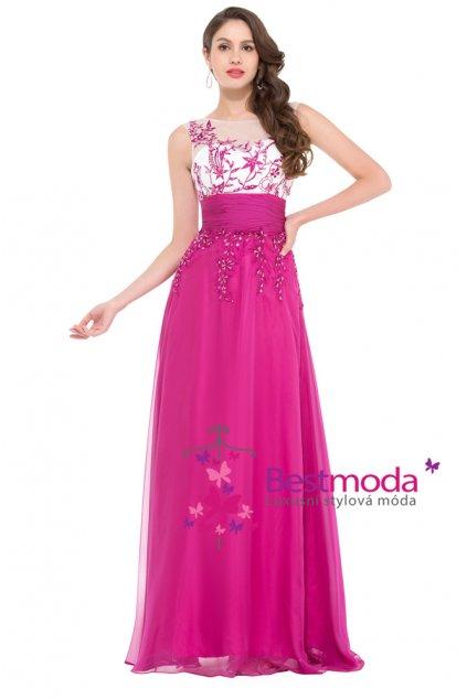 Růžové společenské šaty s efektní aplikací, SKLADEM
