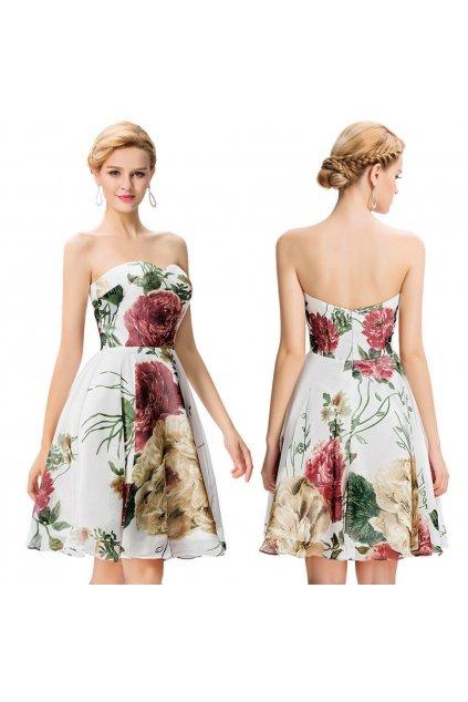 Květované koktejlové šaty, 32 - 42, RYCHLÉ DODÁNÍ