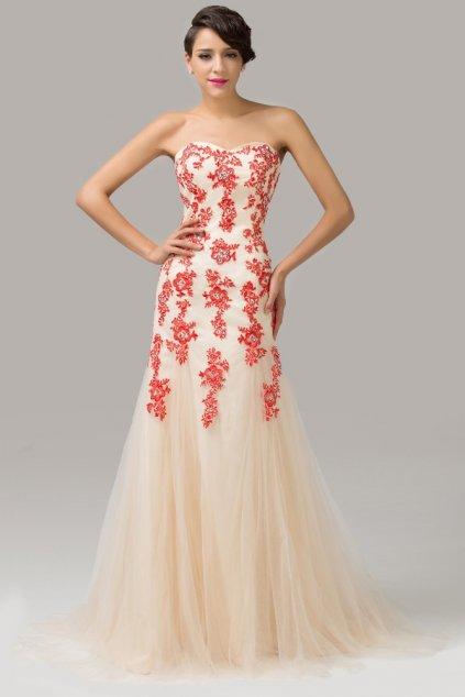 Dámské společenské / svatební šaty s červenou krajkou, k DODÁNÍ IHNED