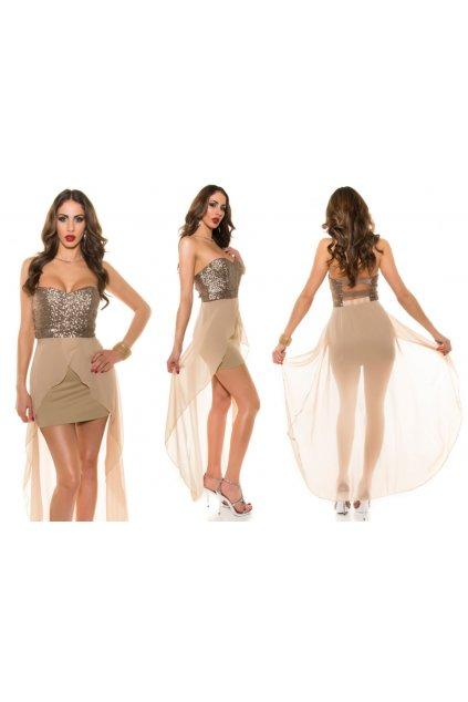 Béžové společenské šaty, RYCHLÉ DODÁNÍ