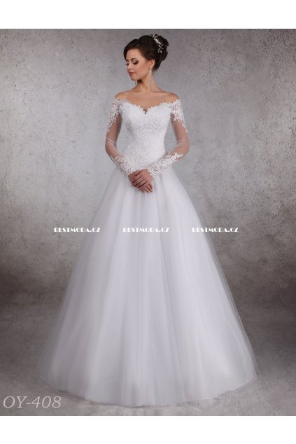 Svatební šaty s dlouhými rukávy, NA MÍRU
