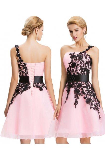 Růžové koktejlové šaty s krajkou, k DODÁNÍ IHNED