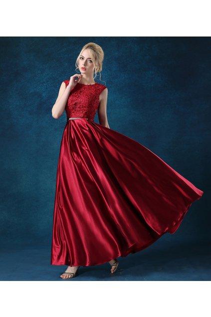 Luxusní červené společenské šaty s krajkou